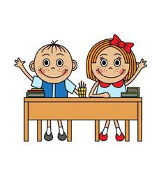 Cartoon children sitting at school desk vector image vector image