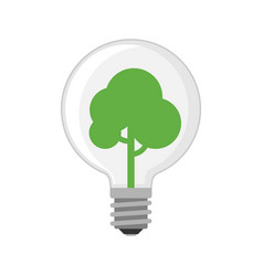 Cartoon lamp green light bulb design flat vector