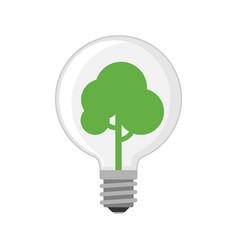 Cartoon lamp green light bulb design flat vector