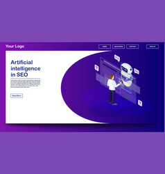 Chatbot webpage template vector