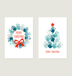 chrismas cards to make with kids handprint vector image