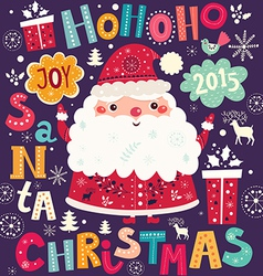 christmas with santa claus and text vector image