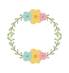circular border with leaves and flowers vector image