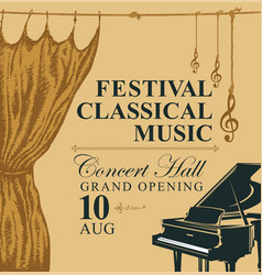 classic music poster with grand piano and curtains vector image