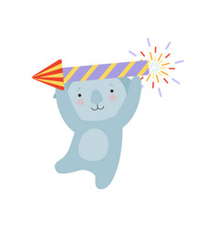 coala bear with a party popper cute cartoon vector image