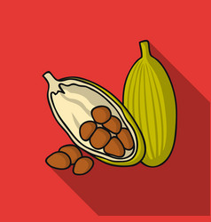 Cocoa fruit icon in flat style isolated on white vector