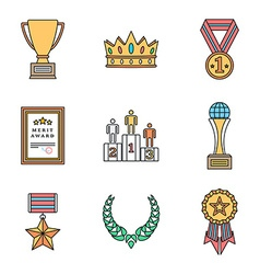 Colored outline various awards symbols icons vector