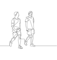 Continuous one line drawing of two young men are vector