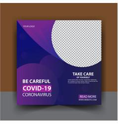 coronavirus social media post template vector image