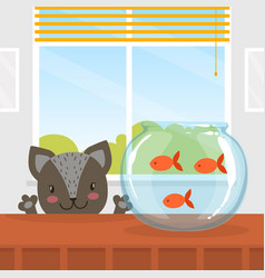 cute funny cat looking at fishes in aquarium vector image