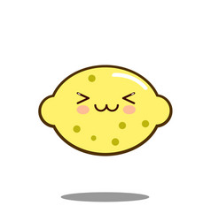cute lemon fruit cartoon character icon kawaii vector image