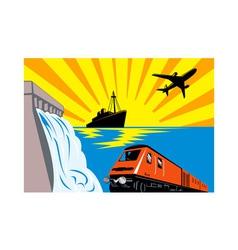 diesel train locomotive retro vector image