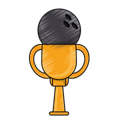 drawing bowling winner cup prize vector image