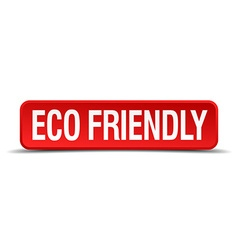 eco friendly red 3d square button isolated on vector image