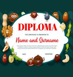 Education school diploma with cartoon nuts seeds vector
