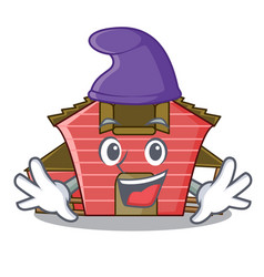 Elf character red barn building with haystack vector