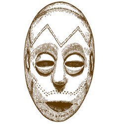 Engraving of african mask vector