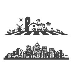 farm and city logo design template vector image