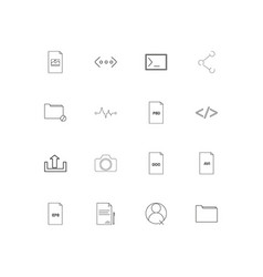 files and folders sign linear thin icons set vector image