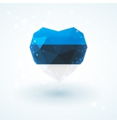 Flag of Estonia in shape diamond glass heart vector image
