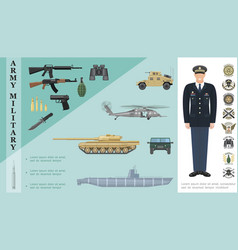 Flat army colorful concept vector