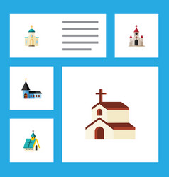 Flat icon christian set of religious religion vector