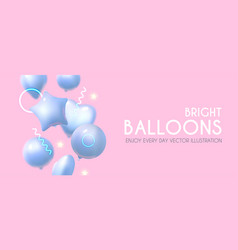 foil balloons bright event design with flying air vector image
