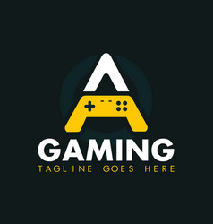 gaming logo with letter a and gamepad vector image