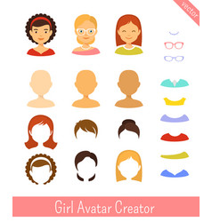 girl avatar creator and female avatars set vector image
