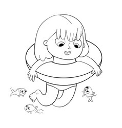 girl swimming with lifebuoy coloring book vector image