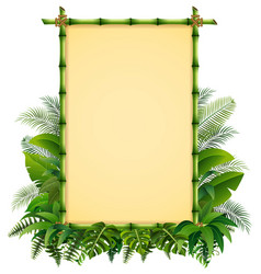 green bamboo frame on the leaves vector image