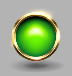 Green shiny circle blank button with gold metallic vector