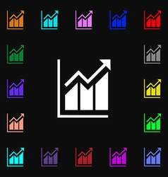 Growing bar chart icon sign Lots of colorful vector image