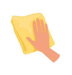 Hand holding yellow rag human hand with tool for vector