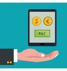 hand holds smartphone global payment euro dollar vector image