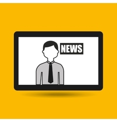 Hands holding tablet journalist news vector