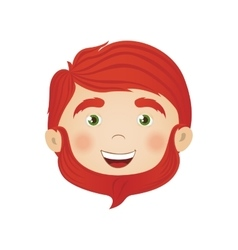 Happy bearded redhead man icon image vector
