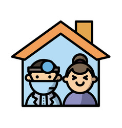 house with doctor and woman fill style vector image