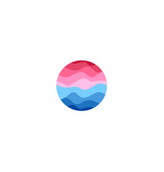 Isolated abstract round shape blue and pink color vector
