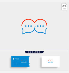 Letter m chat logo template design vector