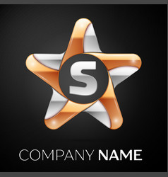 Letter s logo symbol in the colorful star on black vector
