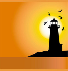 Lighthouse sunset silhouettes 1 vector