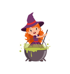 Little red-haired girl witch preparing a potion in vector