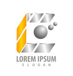 logo concept design geometric shiny letter c vector image