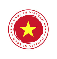 made in vietnam round label vector image