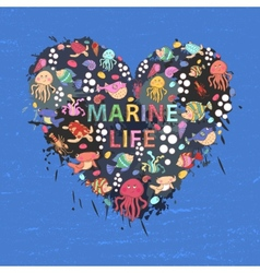 Marine life heart background vector image
