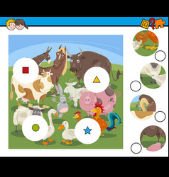 Match pieces game with cartoon farm animals vector