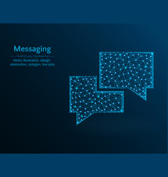 messaging low poly message polygon icon on blue vector image