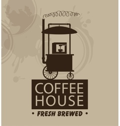 Mobile trolley and coffee machine vector