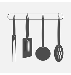 monochrome icon set with kitchen vector image